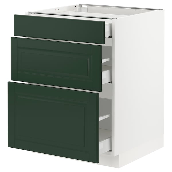 "SEKTION / MAXIMERA Base cabinet with 3 drawers, white/Bodbyn dark green, 24x24x30 """