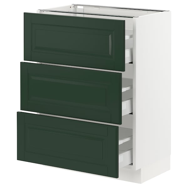 "SEKTION / MAXIMERA Base cabinet with 3 drawers, white/Bodbyn dark green, 24x15x30 """