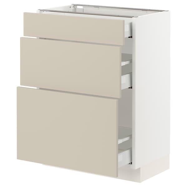 "SEKTION / MAXIMERA Base cabinet with 3 drawers, white/Havstorp beige, 24x15x30 """