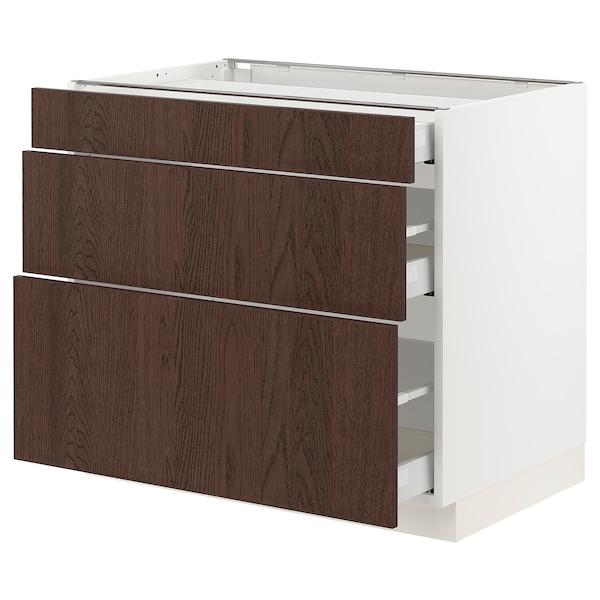 "SEKTION / MAXIMERA Base cabinet with 3 drawers, white/Sinarp brown, 36x24x30 """