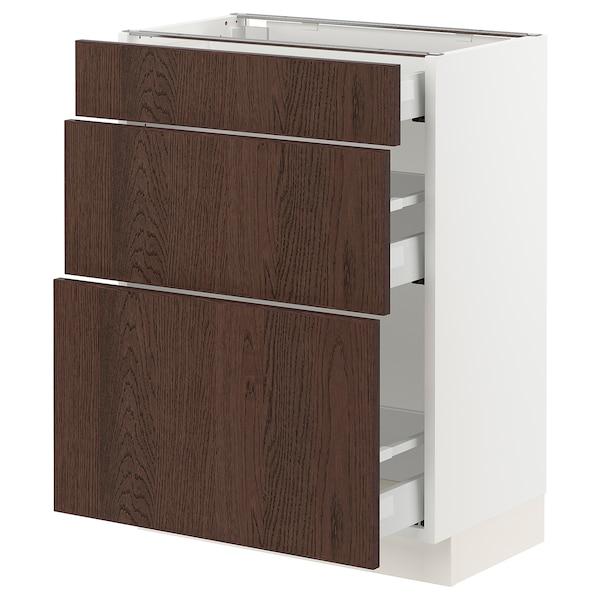 "SEKTION / MAXIMERA Base cabinet with 3 drawers, white/Sinarp brown, 24x15x30 """