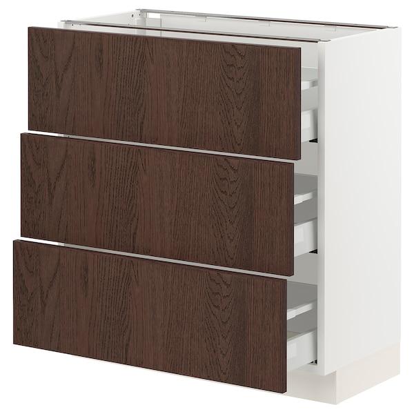 "SEKTION / MAXIMERA Base cabinet with 3 drawers, white/Sinarp brown, 30x15x30 """