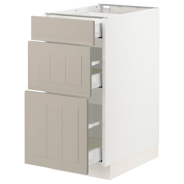 """SEKTION / MAXIMERA Base cabinet with 3 drawers, white/Stensund beige, 15x24x30 """""""