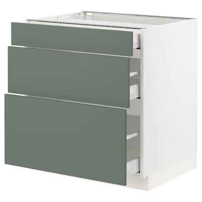 "SEKTION / MAXIMERA base cabinet with 3 drawers white/Bodarp gray-green 30 "" 24 "" 24 3/4 "" 30 """