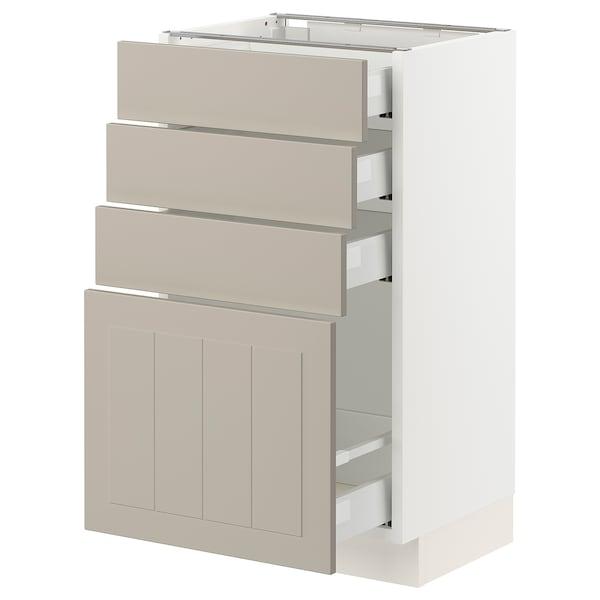 """SEKTION / MAXIMERA Base cabinet with 4 drawers, white/Stensund beige, 18x15x30 """""""