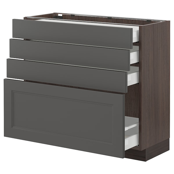 "SEKTION / MAXIMERA base cabinet with 4 drawers brown/Axstad dark gray 36 "" 15 "" 15 3/8 "" 30 """