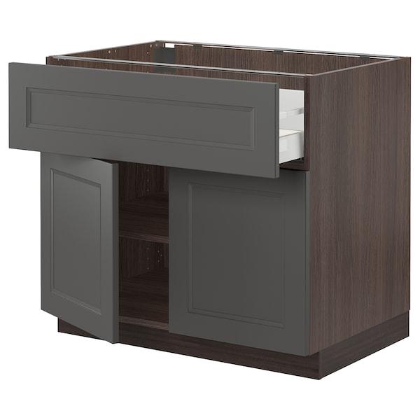 "SEKTION / MAXIMERA Base cabinet with drawer/2 doors, brown/Axstad dark gray, 36x24x30 """