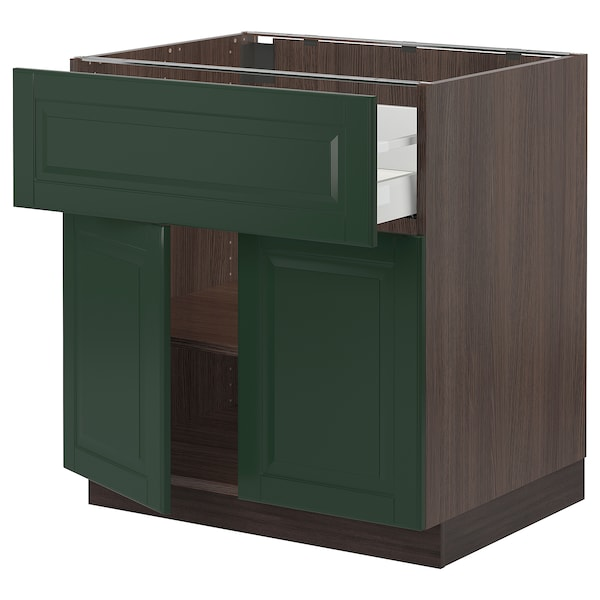 SEKTION / MAXIMERA Base cabinet with drawer/2 doors, brown/Bodbyn dark green, 30x24x30 ""