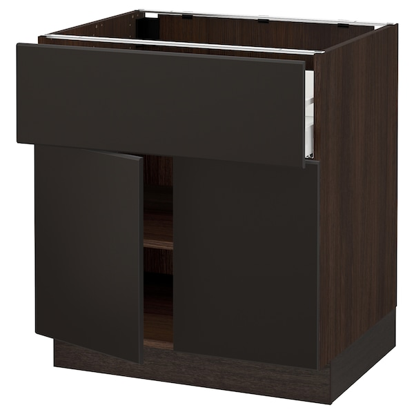 """SEKTION / MAXIMERA Base cabinet with drawer/2 doors, brown/Kungsbacka anthracite, 30x24x30 """""""