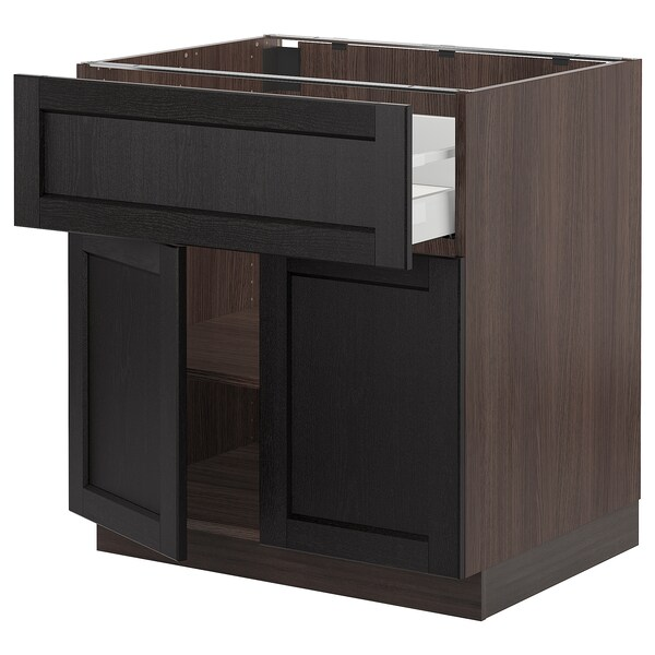 SEKTION / MAXIMERA Base cabinet with drawer/2 doors, brown/Lerhyttan black stained, 30x24x30 ""