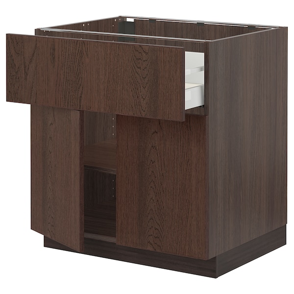 SEKTION / MAXIMERA Base cabinet with drawer/2 doors, brown/Sinarp brown, 30x24x30 ""