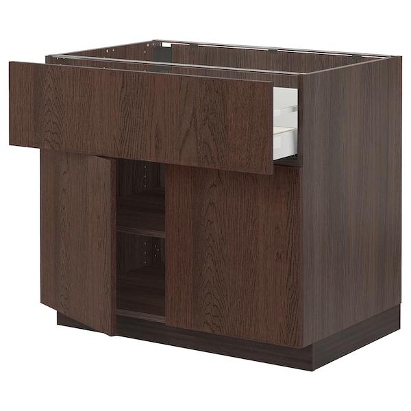 "SEKTION / MAXIMERA Base cabinet with drawer/2 doors, brown/Sinarp brown, 36x24x30 """