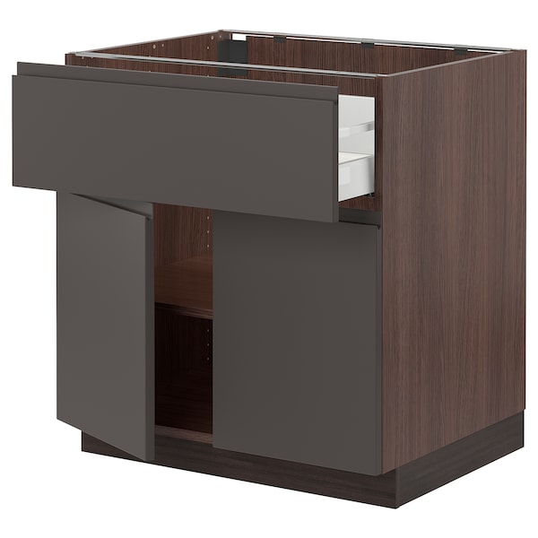 SEKTION / MAXIMERA Base cabinet with drawer/2 doors, brown/Voxtorp dark gray, 30x24x30 ""