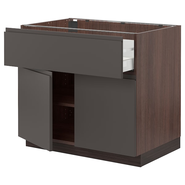 SEKTION / MAXIMERA Base cabinet with drawer/2 doors, brown/Voxtorp dark gray, 36x24x30 ""