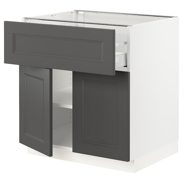 "SEKTION / MAXIMERA Base cabinet with drawer/2 doors, white/Axstad dark gray, 30x24x30 """