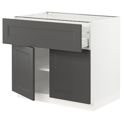 SEKTION / MAXIMERA Base cabinet with drawer/2 doors, white/Axstad dark gray, 36x24x30 ""