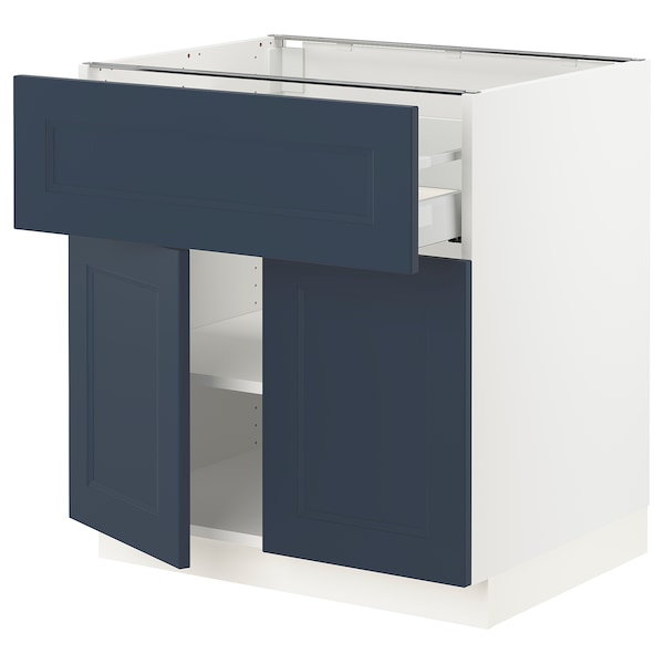 SEKTION / MAXIMERA Base cabinet with drawer/2 doors, white Axstad/matte blue, 30x24x30 ""