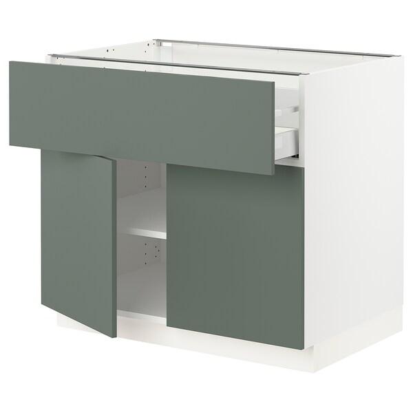 "SEKTION / MAXIMERA Base cabinet with drawer/2 doors, white/Bodarp gray-green, 36x24x30 """