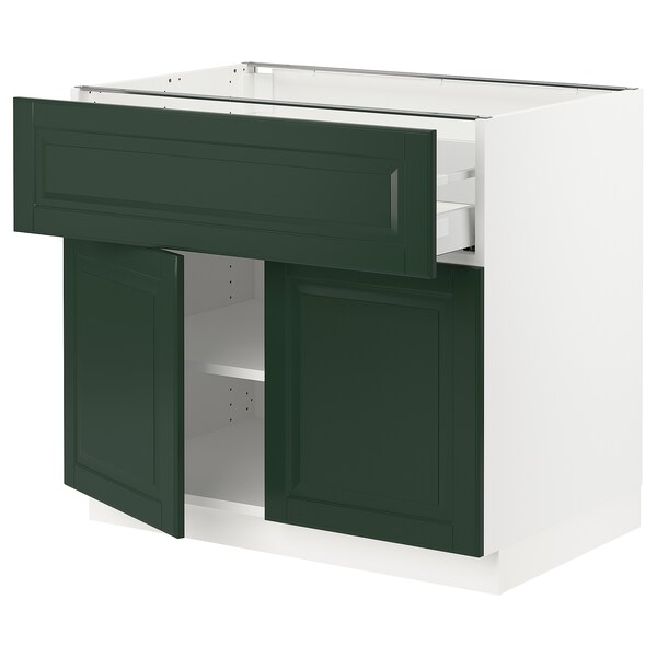 "SEKTION / MAXIMERA Base cabinet with drawer/2 doors, white/Bodbyn dark green, 36x24x30 """