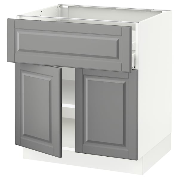 SEKTION / MAXIMERA Base cabinet with drawer/2 doors, white/Bodbyn gray, 30x24x30 ""