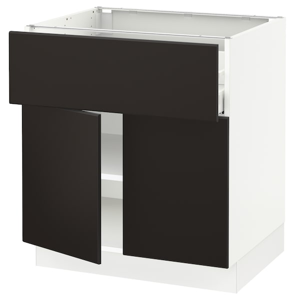 """SEKTION / MAXIMERA Base cabinet with drawer/2 doors, white/Kungsbacka anthracite, 30x24x30 """""""