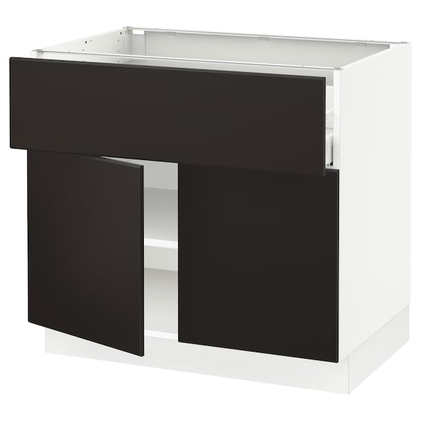 """SEKTION / MAXIMERA Base cabinet with drawer/2 doors, white/Kungsbacka anthracite, 36x24x30 """""""