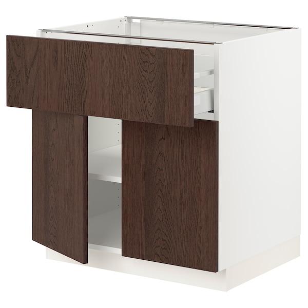 "SEKTION / MAXIMERA Base cabinet with drawer/2 doors, white/Sinarp brown, 30x24x30 """