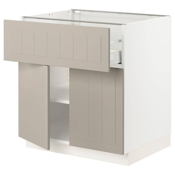 SEKTION / MAXIMERA Base cabinet with drawer/2 doors, white/Stensund beige, 30x24x30 ""