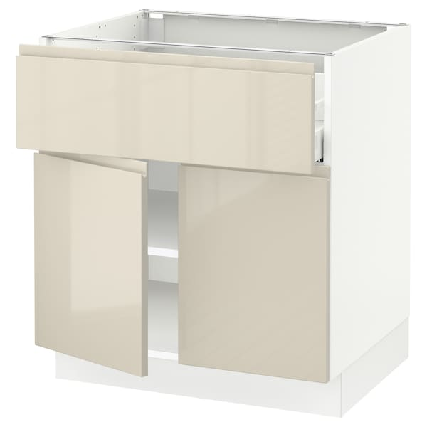 SEKTION / MAXIMERA Base cabinet with drawer/2 doors, white/Voxtorp high-gloss light beige, 30x24x30 ""