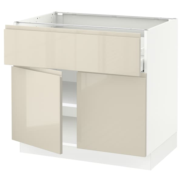 """SEKTION / MAXIMERA Base cabinet with drawer/2 doors, white/Voxtorp high-gloss light beige, 36x24x30 """""""