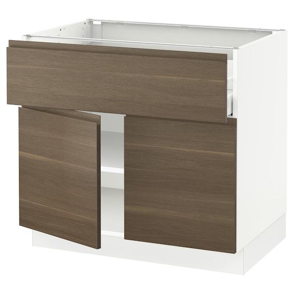 "SEKTION / MAXIMERA Base cabinet with drawer/2 doors, white/Voxtorp walnut effect, 36x24x30 """