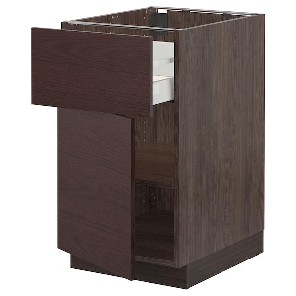 "SEKTION / MAXIMERA Base cabinet with drawer/door, brown Askersund/dark brown ash effect, 18x24x30 """