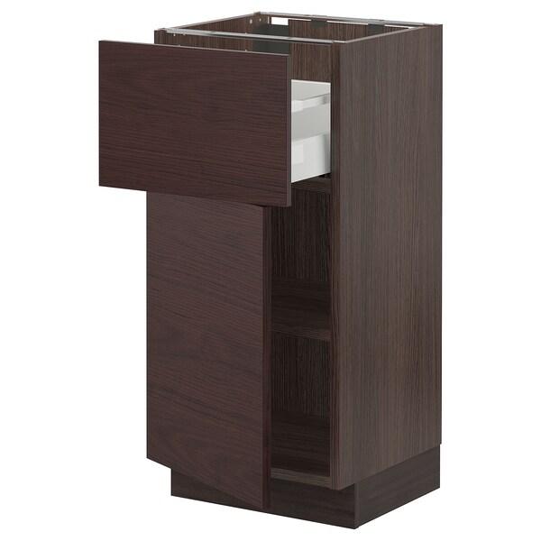 "SEKTION / MAXIMERA Base cabinet with drawer/door, brown Askersund/dark brown ash effect, 15x15x30 """