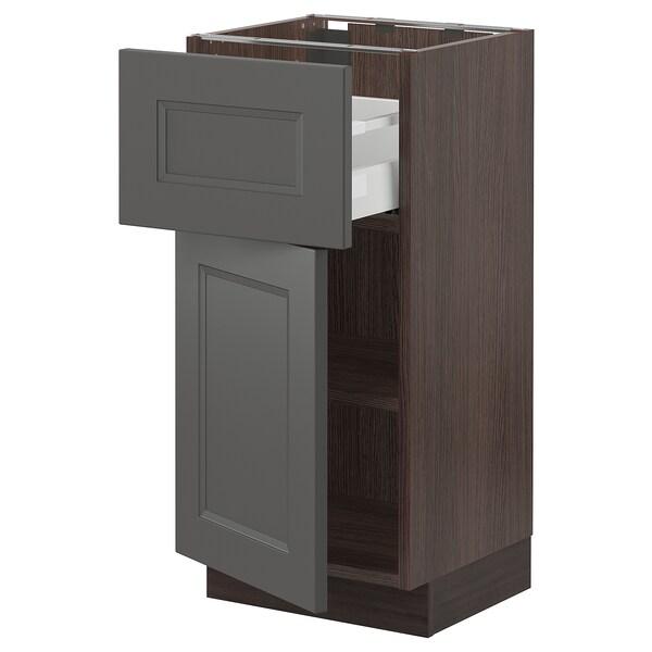"SEKTION / MAXIMERA Base cabinet with drawer/door, brown/Axstad dark gray, 15x15x30 """