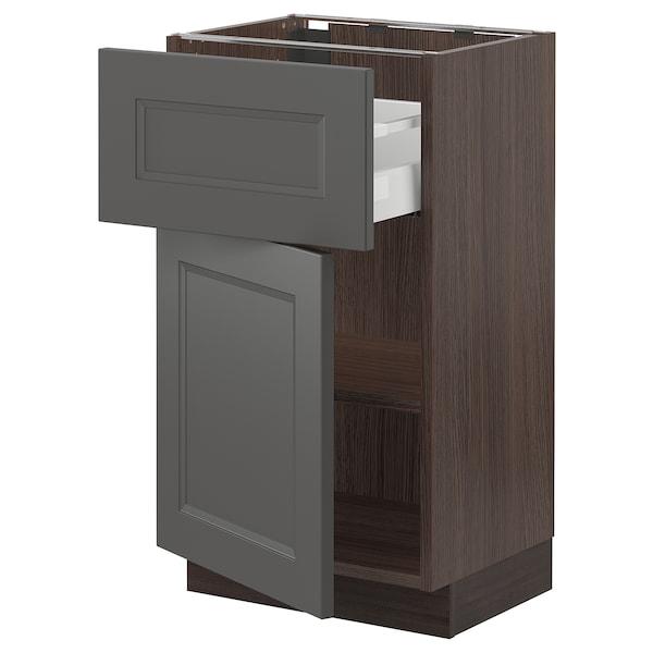 "SEKTION / MAXIMERA Base cabinet with drawer/door, brown/Axstad dark gray, 18x15x30 """