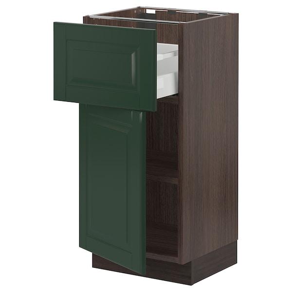 "SEKTION / MAXIMERA Base cabinet with drawer/door, brown/Bodbyn dark green, 15x15x30 """