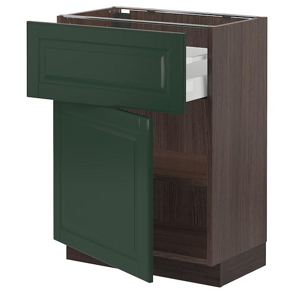 "SEKTION / MAXIMERA Base cabinet with drawer/door, brown/Bodbyn dark green, 24x15x30 """