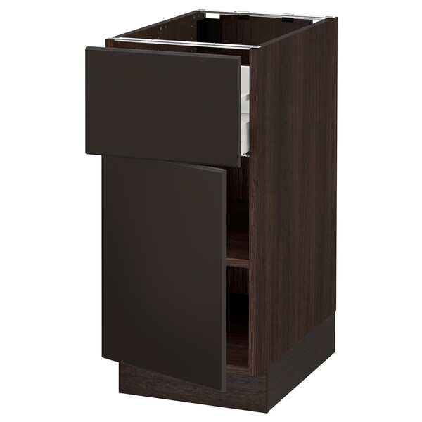 """SEKTION / MAXIMERA Base cabinet with drawer/door, brown/Kungsbacka anthracite, 15x24x30 """""""