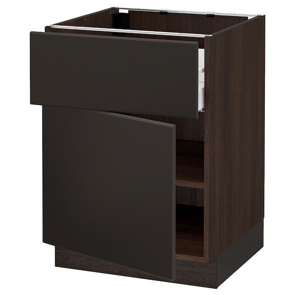 SEKTION / MAXIMERA Base cabinet with drawer/door, brown/Kungsbacka anthracite, 24x24x30 ""