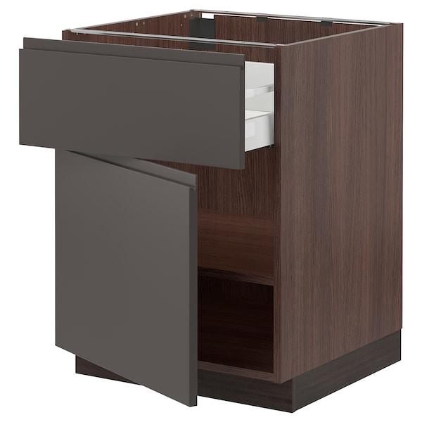 """SEKTION / MAXIMERA Base cabinet with drawer/door, brown/Voxtorp dark gray, 24x24x30 """""""