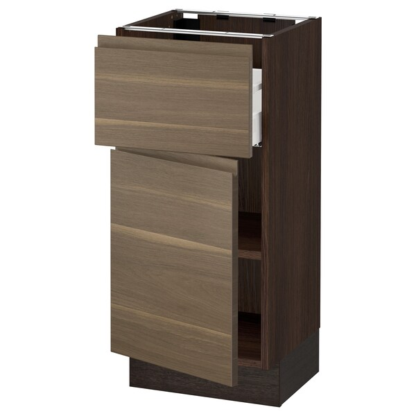 SEKTION / MAXIMERA Base cabinet with drawer/door, brown/Voxtorp walnut effect, 15x15x30 ""