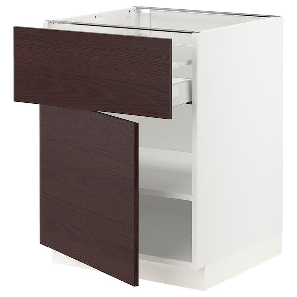 "SEKTION / MAXIMERA Base cabinet with drawer/door, white Askersund/dark brown ash effect, 24x24x30 """