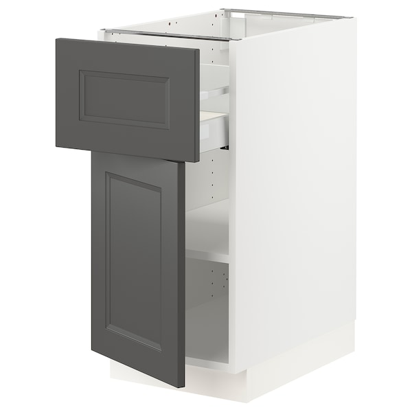 SEKTION / MAXIMERA Base cabinet with drawer/door, white/Axstad dark gray, 15x24x30 ""