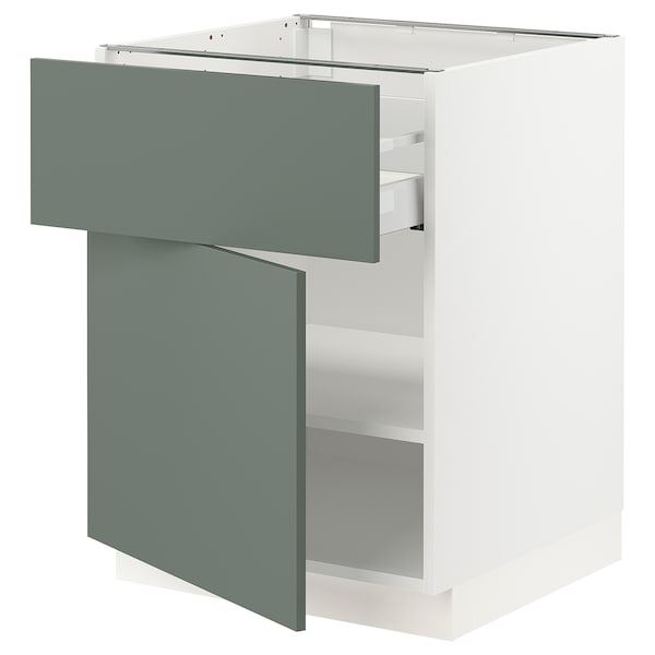 SEKTION / MAXIMERA Base cabinet with drawer/door, white/Bodarp gray-green, 24x24x30 ""