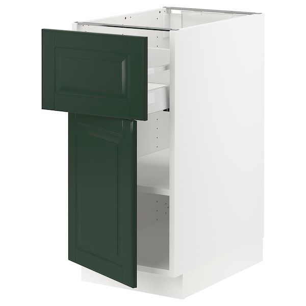 SEKTION / MAXIMERA Base cabinet with drawer/door, white/Bodbyn dark green, 15x24x30 ""