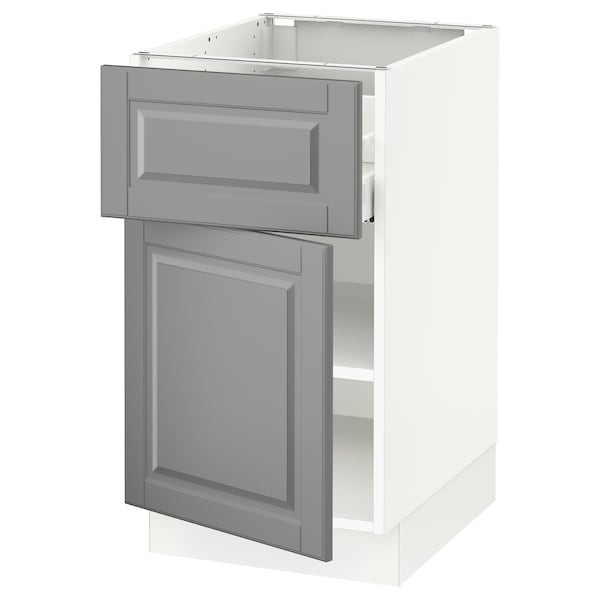 SEKTION / MAXIMERA Base cabinet with drawer/door, white/Bodbyn gray, 18x24x30 ""