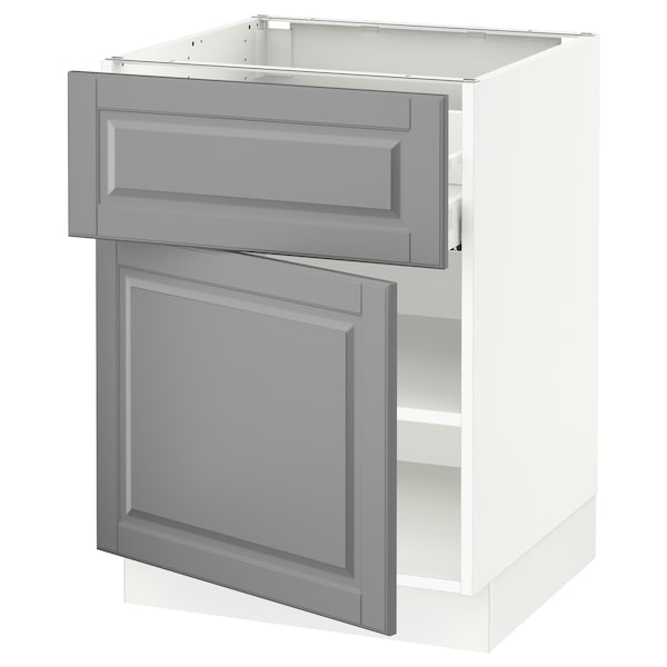SEKTION / MAXIMERA Base cabinet with drawer/door, white/Bodbyn gray, 24x24x30 ""