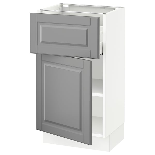 """SEKTION / MAXIMERA Base cabinet with drawer/door, white/Bodbyn gray, 18x15x30 """""""