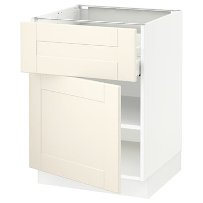 SEKTION / MAXIMERA Base cabinet with drawer/door, white/Grimslöv off-white, 24x24x30 ""