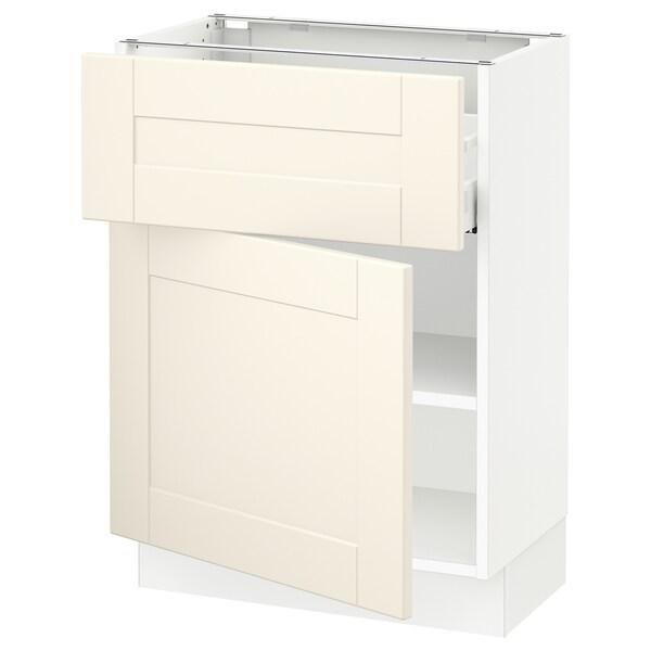 "SEKTION / MAXIMERA Base cabinet with drawer/door, white/Grimslöv off-white, 24x15x30 """